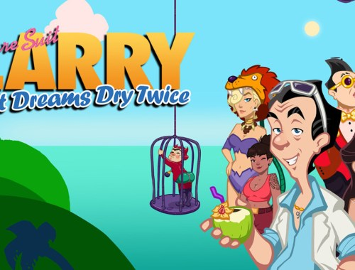 Key art from Leisure Suit Larry: Wet Dreams Dry Twice showing Larry and a selection of characters from the game