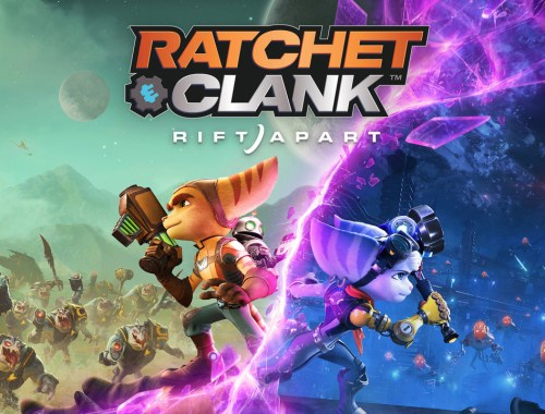 Key art from the game showing Ratchet and Rivet in different dimensions.