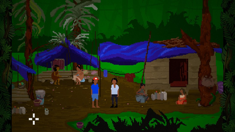 Screenshot from the game that shows Yandi in a small village in the jungle interacting with its inhabitants.