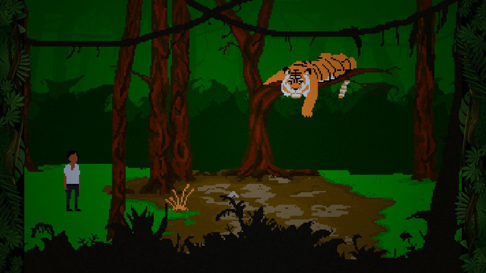 Screenshot from the game that shows Yandi standing next to a tree that has a tiger lying on a branch.