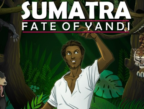 Key art from the game that shows the logo and main character Yandi in front of a jungle environment.