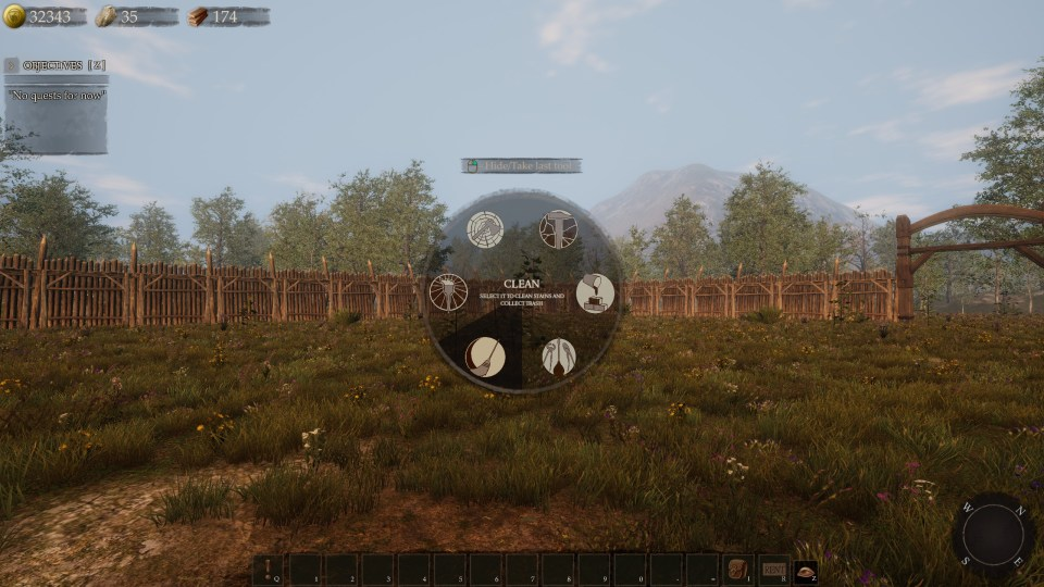 A grassy field surrounded by wooden fencing, with the user interface containing actions in a radial menu in the middle.