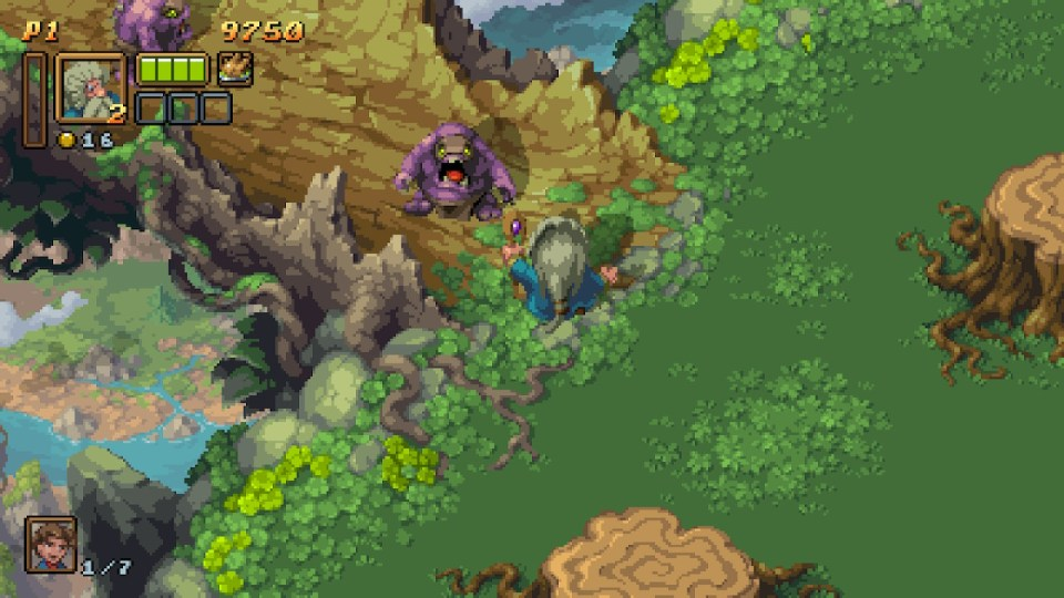 the character is approaching a bridge where two creatures are blocking his path