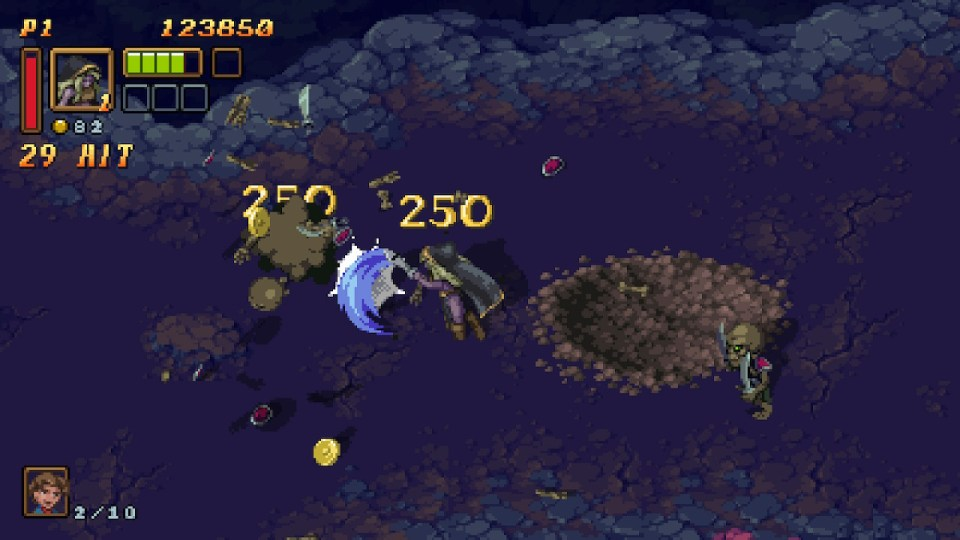 player slicing skeletons with a sword