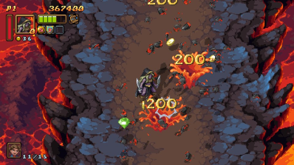 Puddles of enemy remains splash around the player character