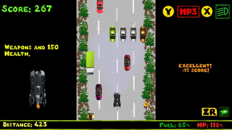 Frodoric the Driver is driving a car that looks like the Batmobile and sees a wall of four cars impeding his path