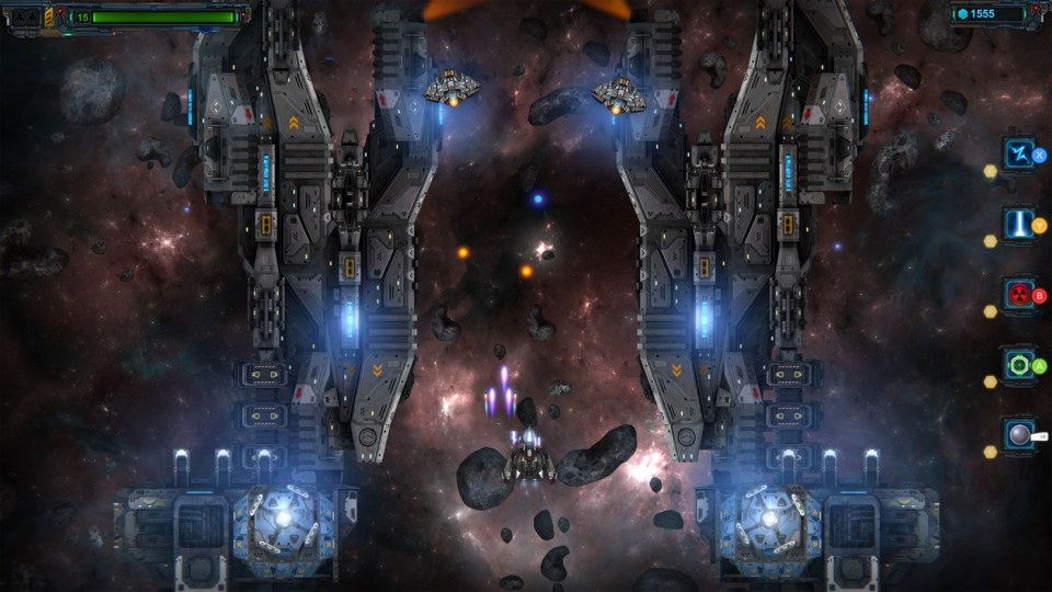 In I, AI, fight to escape the galaxy. the ship shooting purple pullets is being attacked by enemies shooting orange ones