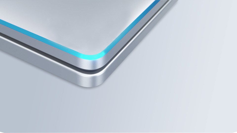 Image of the computer. Highlights the Azure Blue Chamfer