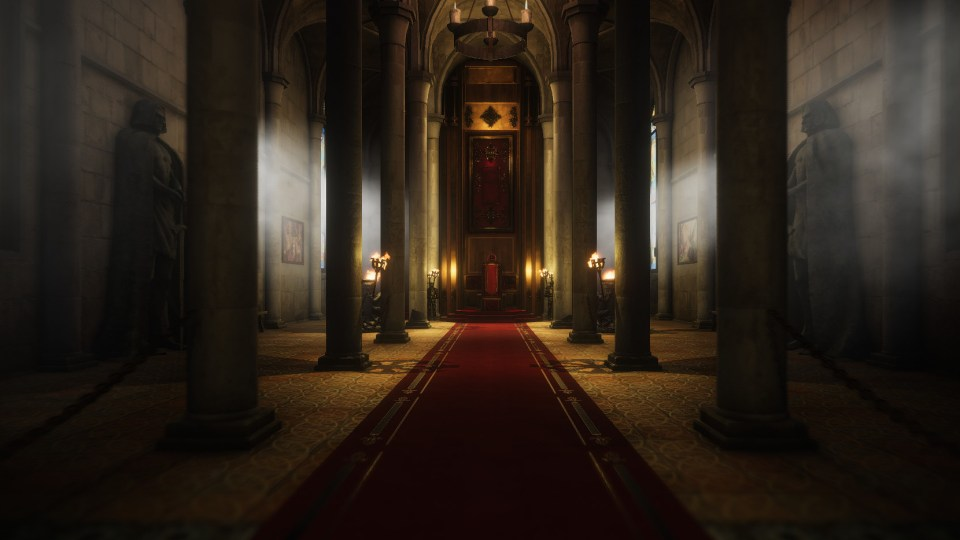 The inside of a castle throne room, with large stone pillars lining a red carpet to the throne.
