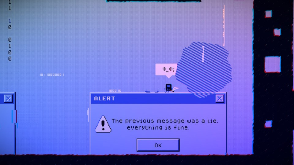 """Cable Boy standing on an error message saying """"the previous message was a lie. Everything is fine"""""""