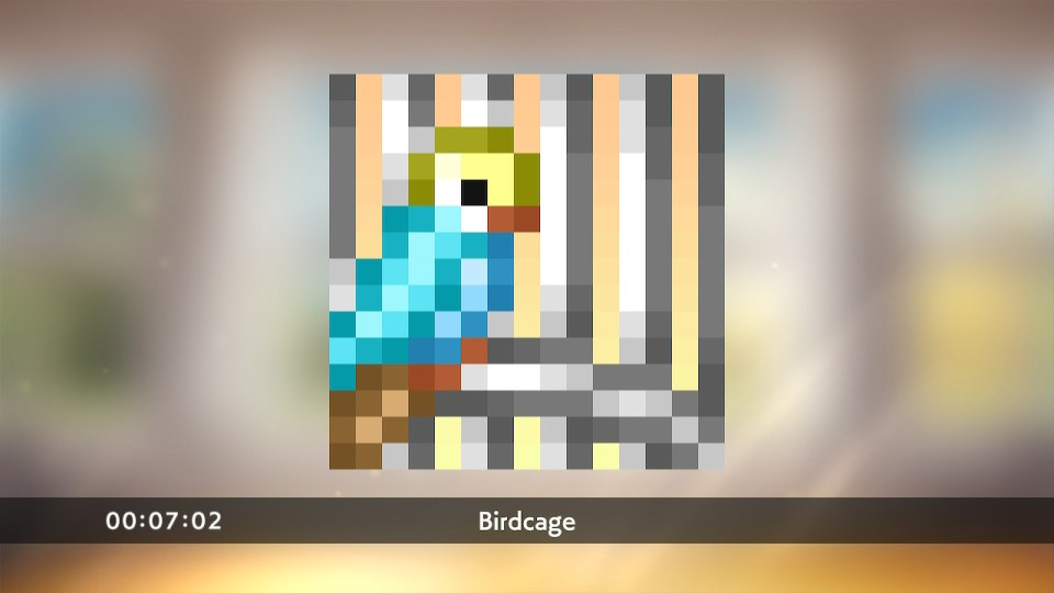 Pixel Art Bird made from the picross tiles with the text: Birdcage