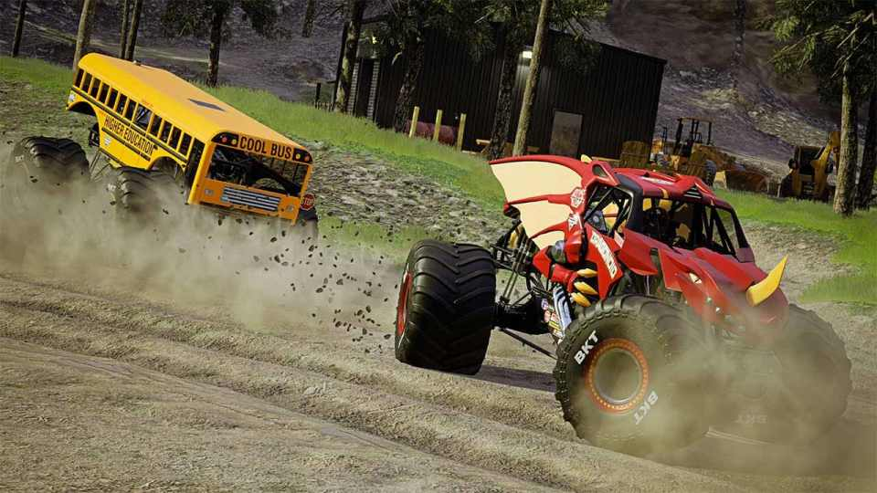 Monster Jam Steel Titans 2 definitely offers a unique selection of trucks. School bus tailing behind a red monster truck with a horn