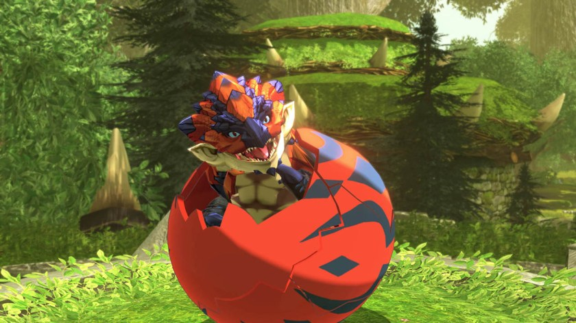 A baby Rathalos hatching out of a red and black egg with a forest background
