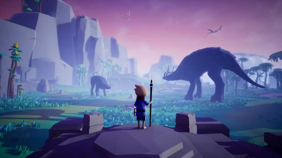 The main character in Omno stands on a rock platform surveying cliffs, grassland and dinosaur-like creatures