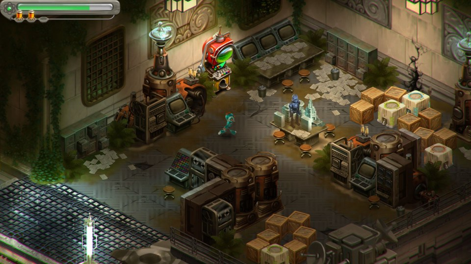 Game screenshot showing the protagonist exploring an abandoned lab-like room