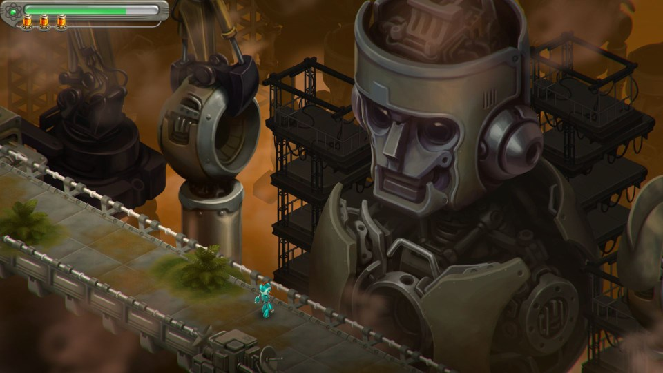 Game screenshot showing the protagonist walking past a giant robot.