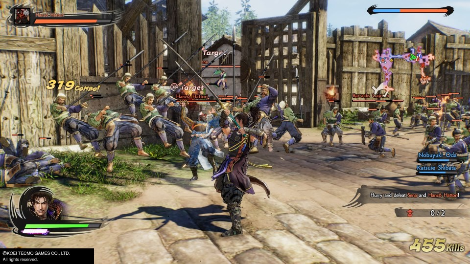 The main character slices through enemies and Hanzo