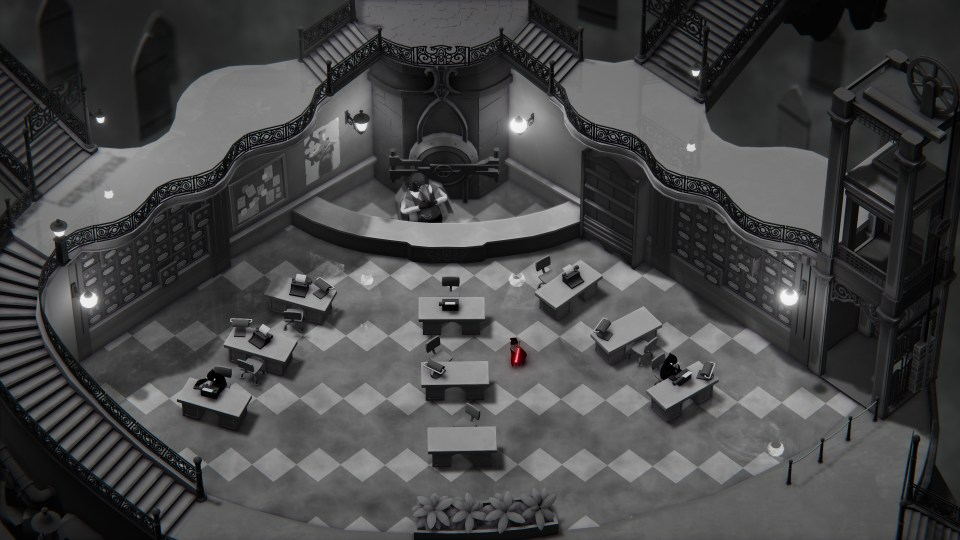 Death's Door - grey room with desks. the only source of colour is the red sword on the crow