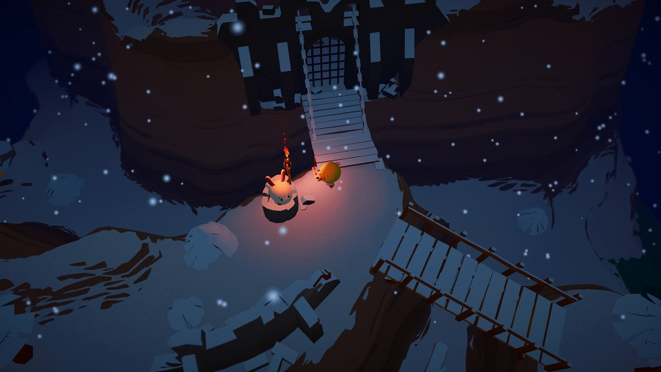 Flint with a torch next to a snowy castle at night with a white rabbit standing by the entrance.