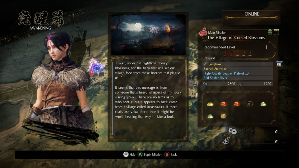 A mission description screen for the Village of Cursed Blossoms, on the left is my customised character