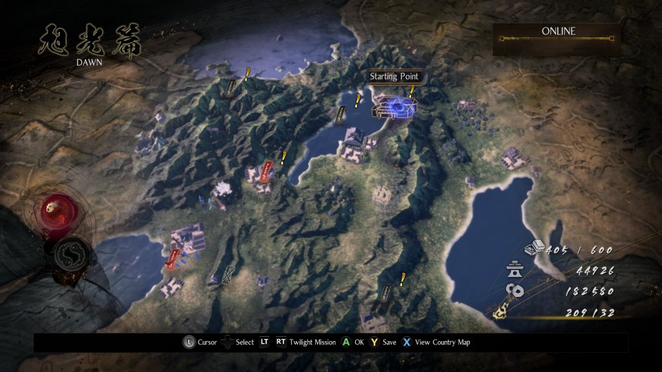 A mission map screen from the chapter 'Dawn' in Nioh 2 - the Complete Edition