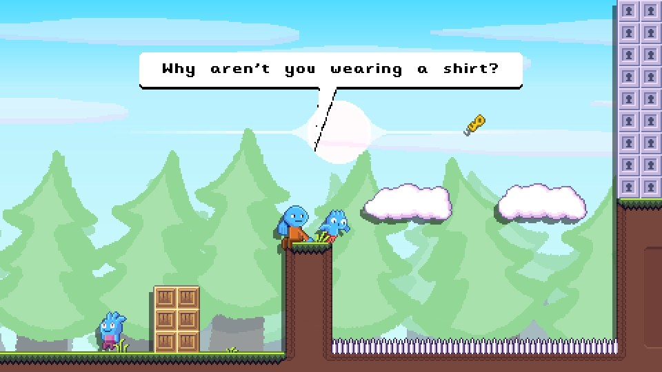 Blue characters in a forest platformer level in pixel style art work, with one asking Toodee 'Why aren't you wearing a shirt?'