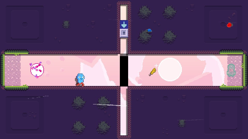A purple platform stage with Toodee running towards a hovering key