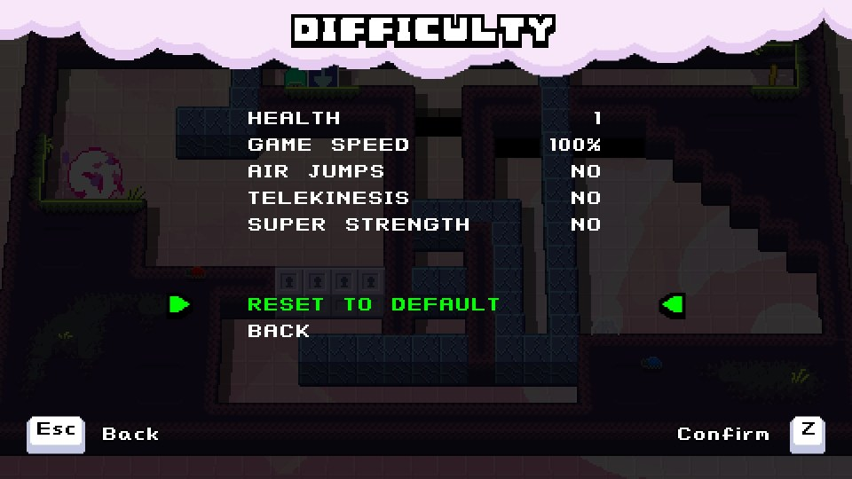 A difficulty menu featuring options to change health, game speed, air jumps, telekinesis and super strength
