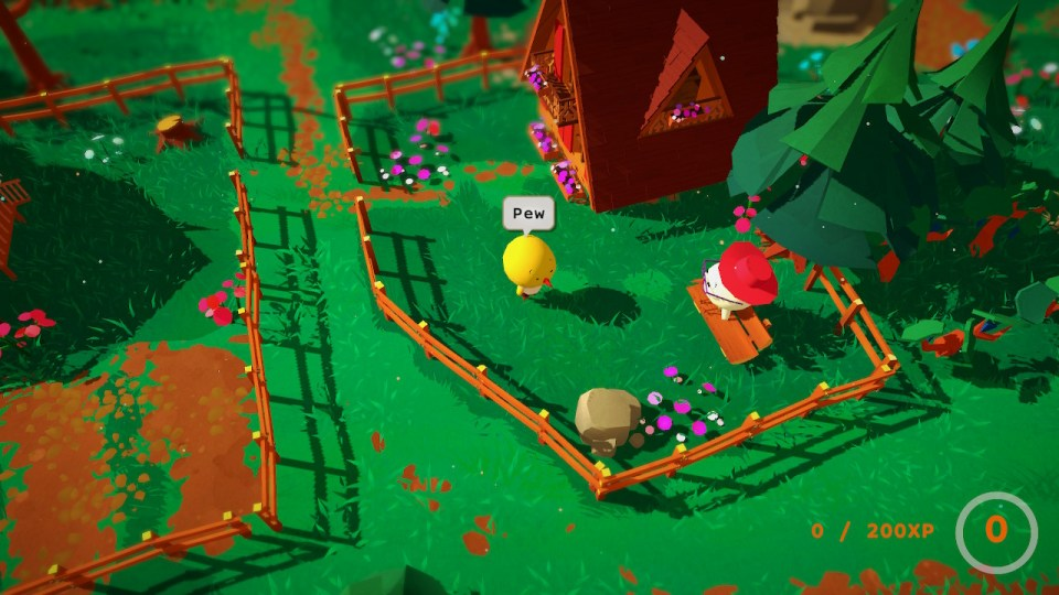"""The player character Flint, a yellow chick, says """"pew"""" in a garden. His grandmother is sitting on a bench nearby."""