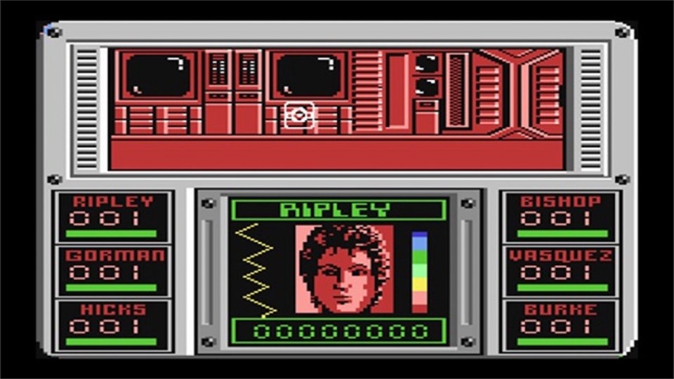 An old-school video game UI of Aliens: The Computer Game, which shows an 8-bit sci-fi hallway, character portrait, and the names and health of several squad members.