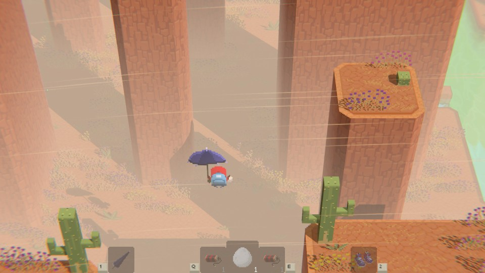 A character with an umbrella in a canyon environment