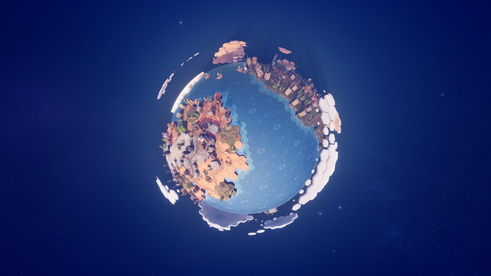 The camera is fixed on an earth-like planet. a couple of landmasses can be seen as well as the small villages on them.