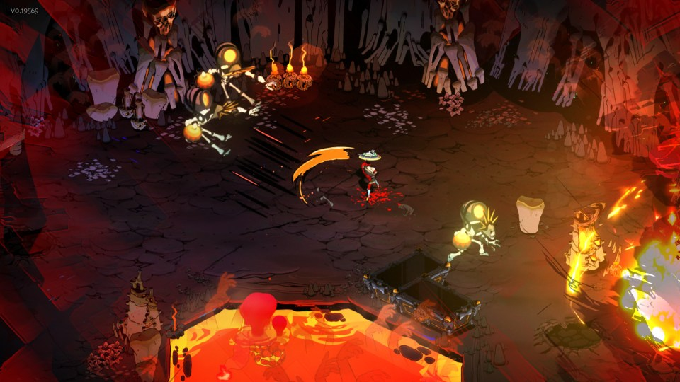 The main character of Hades is slashing his sword in a fiery landscape