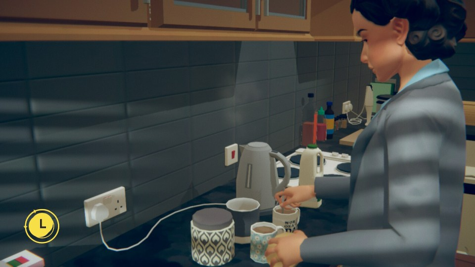 A modern kitchen with two cups of tea and a stirring spoon.
