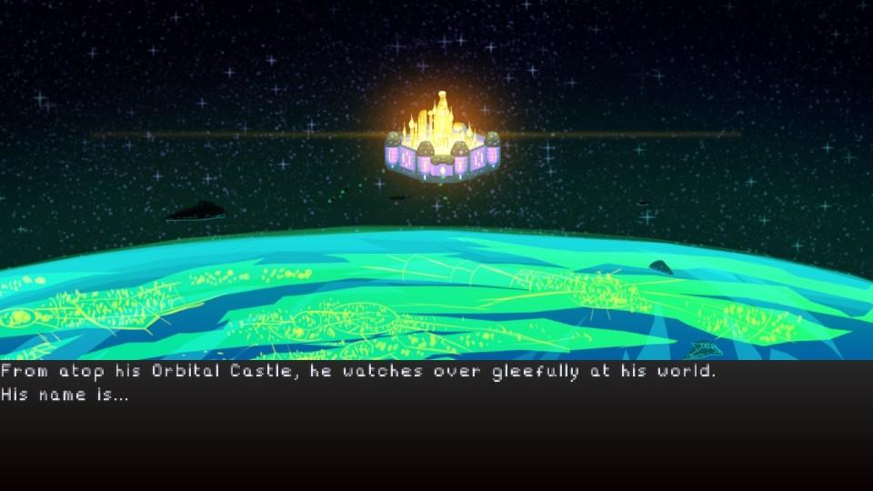 An orbital castle is seen over a green planet