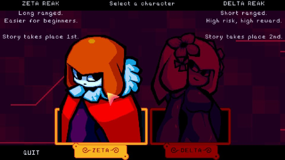 The options menu for selecting a character