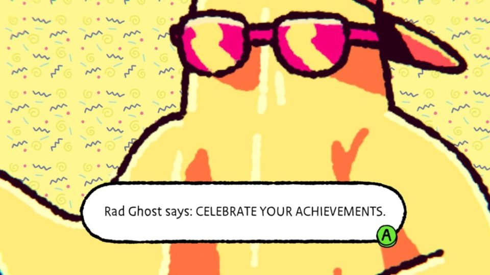 """A yellow ghost in a backwards cup and sunglasses says """"Rad Ghost says: CELEBRATE YOUR ACHIEVEMENTS."""""""