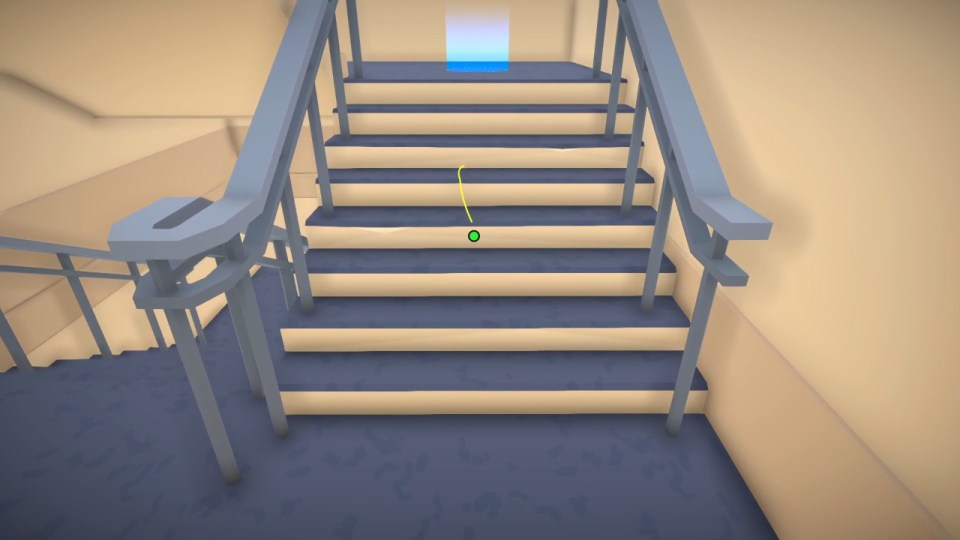 Freddy Spaghetti climbing a set of stairs in an office towards a glowing blue circle.  Freddy Spaghetti 2 PS5 Review for Rapid Reviews UK