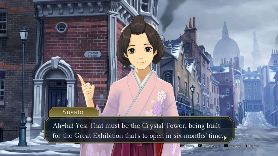 Susato stands in a London street.