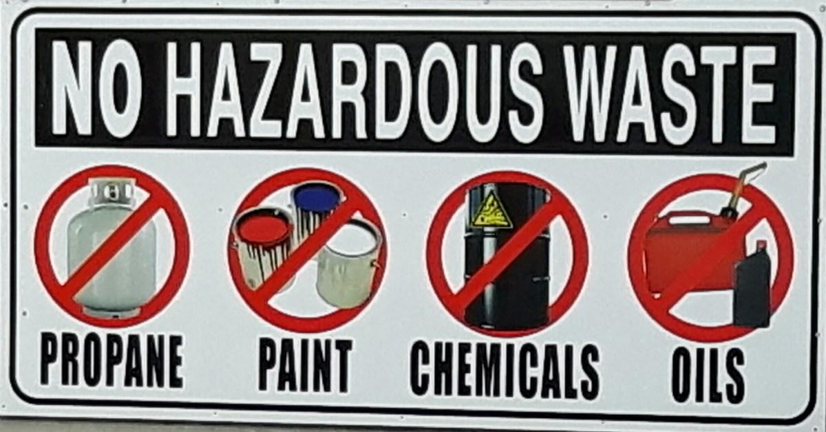 No Hazardous Waste Sign