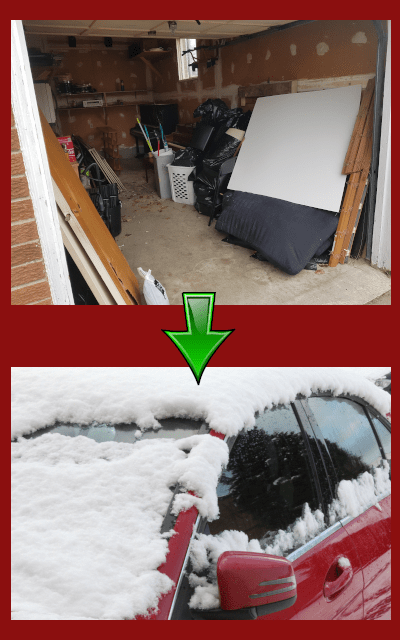 Image cluttered garage equals a snow covered car