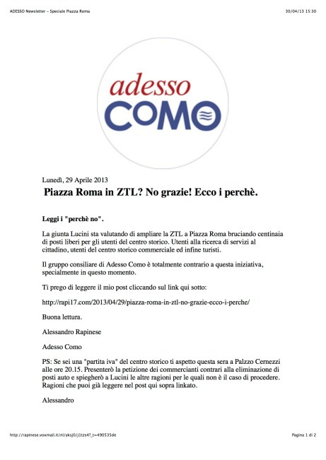 ADESSO Newsletter - Speciale Piazza Roma