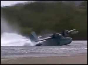 Grumman Goose attempting takeoff from a lake