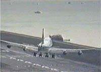 747 landing at Kai Tak Intl Airport in Hong Kong