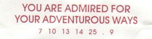Confucius say:  you are admired for your adventurous ways