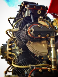 "This Continental W-670 radial engine is not original. Most commonly found on the Boeing Stearman, it replaced the factory-standard Wright ""Whirlwind"" J-6 five-cylinder powerplant."