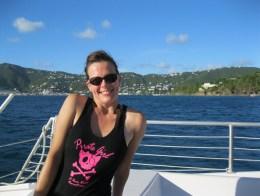 Kristi models the latest in island-wear.