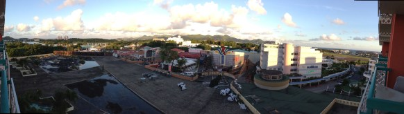 A panoramic of the town from my hotel room at the Sonesta Maho