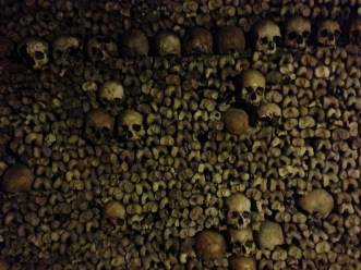 You can walk for miles in the catacombs alongside walls of bones ordered just like this.