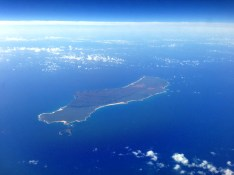One of the Hawaiian islands as we descended into Honolulu.